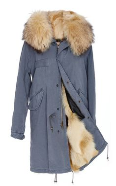 Canary Yellow Coyote Lined Stone Grey Canvas Parka by MR & MRS ITALY for  Preorder on