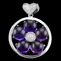 NATURAL 6 MM ROUND CAB. AAA PURPLE AMETHYST,WHITE-CZ STERLING 925 SILVER PENDANT #Handmade