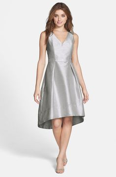 Alfred Sung Alfred Sung Satin High/Low Fit & Flare Dress (Online Only) available at #Nordstrom