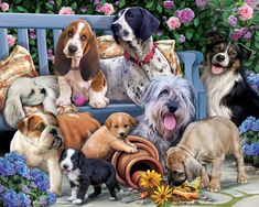 Vermont Christmas Company Dogs on a Bench Jigsaw Puzzle 1000 Piece Tier Puzzle, Puzzle 1000, Dog Puzzles, 5d Diamond Painting, Dog Paintings, Diamond Art, Dog Art, 1000 Piece Jigsaw Puzzles, Cute Dogs