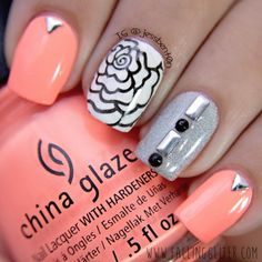 Retro Nail Art Design Idea for Summer using China Glaze Flip Flop Fantasy a pretty neon coral color with studs and black rhinestones. Pretty flower stamped using Pueen nail stamping plate and black nail polish on accent nail. Silver glitter  nail polish is Butter London Dodgy Barnett.