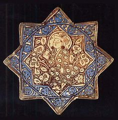 Star tile  Iran  second half of 13th century  Fritware, overglaze luster-painted