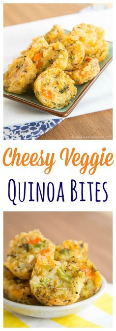 Cheesy Veggie Quinoa Bites recipe. These healthy little tots are packed with vegetables and cheese that make a perfect healthy snack or side dish. Use any leftovers you have in your fridge!  (gluten free, vegetarian)
