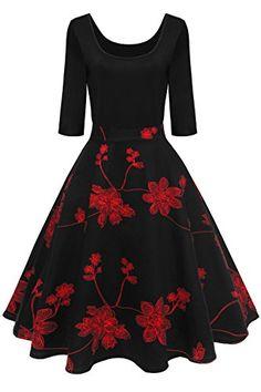 3e1398540fe7 MisShow Damen Elegant Audrey Hepburn Kleid Langarm A-Linie mit Blumendruck  U-Ausschnitt Partykleider Cocktailkleid Printkleid Knielang Gr.S-2XL
