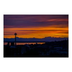 Seattle Olympic Mountain Range Sunset Posters