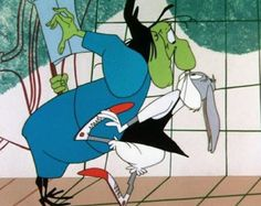 """That old bag means to do me serious hurt!"". Witch Hazel and Bugs Bunny  ""Broom-Stick Bunny""  dir. Chuck Jones  25 February 1956"