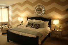 Love this chevron wall, especially since it brightened up the brown that we all have in our home!