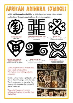 Adinkra symbols and their meanings African Textiles, African Fabric, African Quilts, African Art Projects, African Symbols, Tarot, Adinkra Symbols, Thinking Day, African Masks