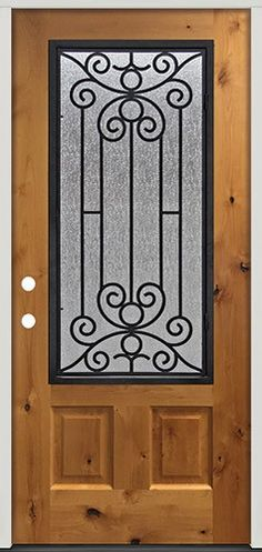 Rustic Pre-finished Fiberglass Prehung Door Unit with Iron Grille Knotty Alder Doors, Cheap Interior Doors, Grill Door Design, Prehung Doors, Wrought Iron Gates, Exterior Doors, Wood Doors, House Design, Rustic