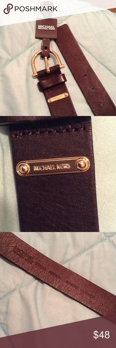 Michael Kors belt Real leather dark chocolate brown looks black belt from MK new with tags never worn gold plate logo. make offers! Michael Kors Accessories Belts