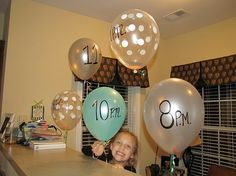 New Year's Eve Balloon Countdown - Put a note inside each balloon, pop the balloons at set intervals and do what it says at that hour (bake cookies, play a game). Fun for kids or adults!