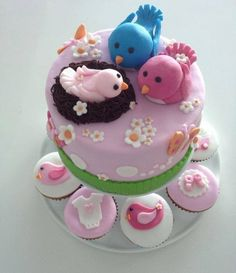 Bird themed Baby Shower cake & cup cakes or the gorgeous @veelumby on the pending arrival of her beautiful baby girl! #babyshowercake #babyshowercupcakes #birdthemedbabyshower