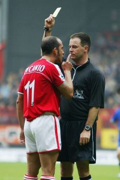 Charlton Athletic's Paolo Di Canio is booked in 2003 and he still gives the referee trouble with his finger. Charlton Athletic Football Club, World Football, Referee, 2000s, Finger, Running, Sports, Books, Photos