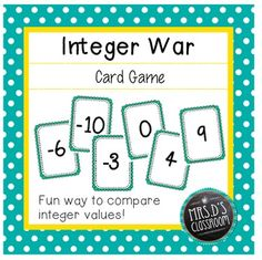 Integer War Card game - students practice comparing integers in a fun, interactive way!