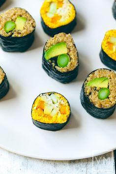 #Vegan Asparagus Quinoa Sushi Rolls from @choosingraw | Vegan Miam