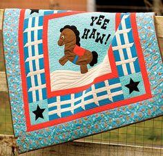 Yee Haw Baby Boy Retro Horse Western Quilt Kit