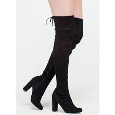 BLACK Luck Of The Drawstring Thigh-High Boots (€35) ❤ liked on Polyvore featuring shoes, boots, black, kohl boots, above knee boots, black over the knee boots, black over-the-knee boots and thigh high boots