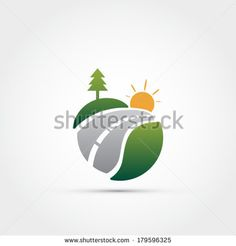 Road with pine tree and sun icon