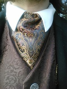 Bronze and Coal Brocade Cravat, a unique style that would suit most gents #MensFashion #MensStyle