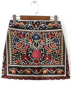 To find out about the Multicolor Tribal Embroidery Skirt at SHEIN, part of our latest Skirts ready to shop online today! Learn Embroidery, Vintage Embroidery, Embroidery Patterns, Flower Embroidery, Embroidery Stitches, Hand Embroidery, Skirt Embroidery, Hungarian Embroidery, Jupe Skater
