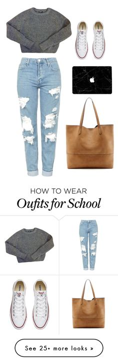 """School"" by kitkat030 on Polyvore featuring Topshop, American Apparel, Converse and Sole Society"