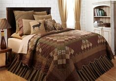 PRIMATIVE QUILTED BEDDING | ... COUNTRY PRIMITIVE 5PC QUEEN CAL KING QUILT SHAMS PILLOW CASES BED SET