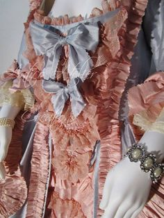 """Woman dress 18 century natural silk pale rose &blue sky model """"Robe a la Francaise"""" made to Antico Atelier"""
