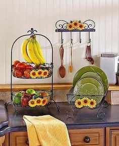 details about dish rack 2 tier metal sunflower rooster apple