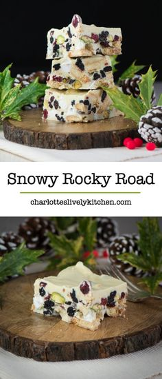 A festive version of my easy-to-make rocky road recipe with white chocolate, biscuits, marshmallows, dried cranberries and pistachio nuts. Sweets Recipes, Candy Recipes, Baking Recipes, Christmas Food Gifts, Christmas Cooking, Christmas Hamper, Christmas Recipes, Holiday Desserts, Easy Desserts