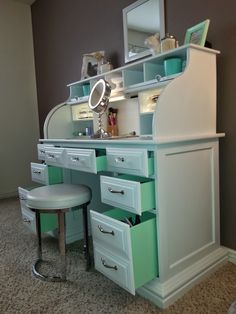 -Roll top desk makeover- By Chelsea Lloyd Surprise mint drawers! My DIY makeup vanity - Makeup Station, Upcycling, DIY, Desk, White & Mint, HomeGoods Stool, Painted Laminate, Illuminated Mirror, Girly, Spare Bedroom