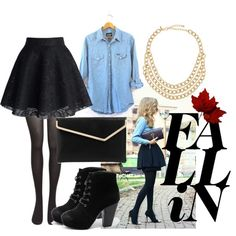 """""""Blue Jean Top with Black Skirt"""" by blacklockbeauty on Polyvore"""