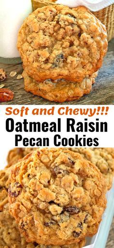 Delicious soft and chewy oatmeal cookies the whole family will love! Delicious soft and chewy oatmeal cookies the whole family will love! Pecan Cookies, Brownie Cookies, Chip Cookies, Cookies Et Biscuits, Chewy Oatmeal Raisin Cookies, Chewy Oatmeal Cookie Recipe, Easy Oatmeal Raisin Cookies, Oatmeal Cookie Bars, Candy Cookies