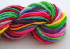 Misterstiltskin on Etsy - Melbourne Ten colour striping rainbow  -  Hand spun art yarn. Self striping  Hand dyed and hand spun Pure Australian 21 micron merino.. $19.00, 100 metres