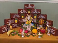 Ganpati Decoration Design, Diwali Decoration Items, Diwali Decorations At Home, Backdrop Decorations, Festival Decorations, Flower Decorations, Ethnic Home Decor, Indian Home Decor, Ganesh Chaturthi Decoration