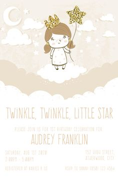 Celebrate your littles princess 1st birthday with this soft and cute twinkle little star birthday invitation. Personalise it using the order form. Send it your way, print, online, text or instant message. You choose how to share it with your family and friends. 1st Birthday Princess, 1st Birthday Girls, It's Your Birthday, Boy Birthday Invitations, Party Invitations, Birthday Celebration, Birthday Parties, Online Text, Order Form