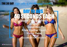 • Day 19 •   Abs 2 - 40 Seconds - 6 Rounds - Limited Rest... FEEL THE BURN  Exercises: Squat Thrust + Twist Crunch Dead Bug Knee Up Toe Touch Hover Twist  VIDEO: https://youtu.be/oI6dF_fAbG4 Remember form... Always perform each exercise correctly without slacking off ;)