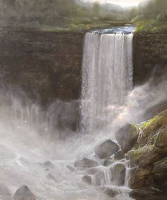 """""""Bridal Vale, Psalms 69:1,"""" Thomas Kegler, oil, 24 x 18"""", available though the artist. Oil Water, Natural Wonders, American Artists, Niagara Falls, Psalms, Waterfall, Bridal, Nature, Outdoor"""