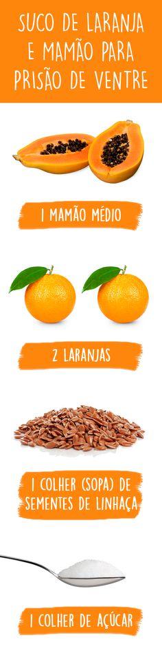 O suco de laranja e mamão é um ótimo remédio caseiro para prisão de ventre, pois a laranja é rica em vitamina C e é uma excelente fonte de fibras, enquanto o mamão contém, além da fibra, uma substância chamada papaína, que estimula os movimentos intestinais, facilitando a expulsão das fezes.
