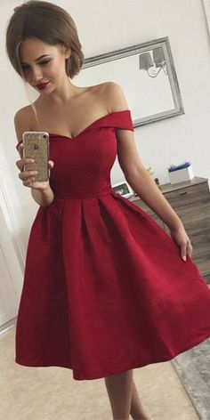 Simple A-Line Off Shoulder Red Satin Cheap Homecoming Dresse.- Simple A-Line Off Shoulder Red Satin Cheap Homecoming Dresses Simple A-Line Off Shoulder Red Satin Cheap Homecoming Dresses, on Storenvy - Retro Prom Dress, Cheap Homecoming Dresses, Hoco Dresses, Satin Dresses, Sexy Dresses, Beautiful Dresses, Fashion Dresses, Formal Dresses, Dresses For Graduation