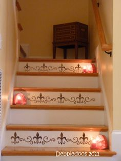 Stencil Stairs Design Ideas, Pictures, Remodel and Decor Stenciled Stairs, Painted Stairs, Painted Floors, Home Decor Furniture, Diy Home Decor, Painted Staircases, Stairways, Stencils, Stencil Decor