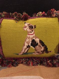 Excited to share this item from my shop: Beautiful vintage terrier needlepoint pillow paired with plaid fabric Fox Ornaments, Christmas Ornaments, Classic Pillows, Terrier, Needlepoint Pillows, Plaid Fabric, Perfect Pillow, Grosgrain, Tartan