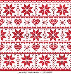 Christmas knitted pattern, card - scandynavian sweater style by RedKoala, via ShutterStock