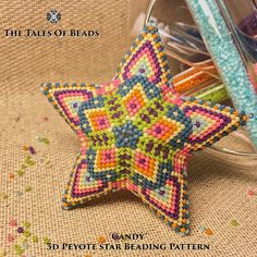 """These beads will tell you a tale about the sweetest """"Candy"""". 3D Peyote Star Beading Pattern made with 11/0 Miyuki Delica beads. These happy pastel colors will be appropriate not only for Christmas, but throughout the whole year! Beaded stars look stunning and are fun to make. Create"""