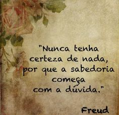 Nunca tenha certeza de nada, por que a sabedoria começa com a duvida - Freud