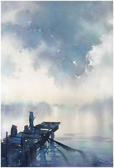 """A great clear example of the horizon line. """"Above Us Only Sky"""" Thomas W Schaller - Watercolor Inches 29 May 2015 Watercolor Clouds, Watercolor Projects, Watercolor Artists, Watercolor Techniques, Watercolor Landscape, Watercolor And Ink, Watercolor Illustration, Watercolour Painting, Landscape Art"""