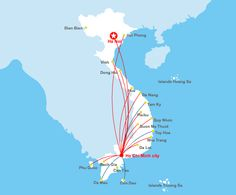 Vietnam Airlines Route Map - Domestic flights from HCMC