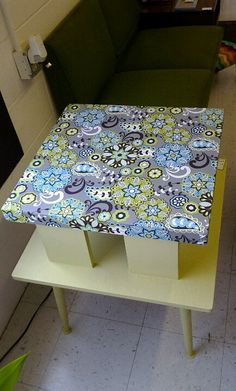 chalk painted, fabriced top end table