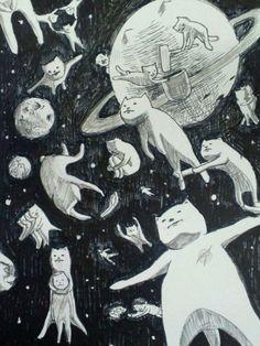 Marvelous Drawing Animals In The Zoo Ideas. Inconceivable Drawing Animals In The Zoo Ideas. Pretty Art, Cute Art, Art Et Illustration, Illustrations, Bel Art, Art Mignon, Space Cat, Space Space, Art Design