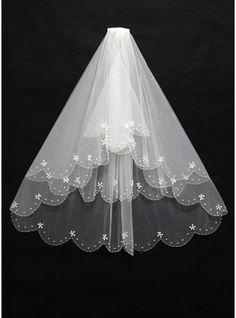 Three-tier Cut Edge Elbow Bridal Veils With Beading (006108399)