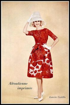 Model in red and white silk print by Lanvin-Castillo, photo by Guy Arsac, 1960
